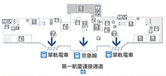 東京單軌電車搭乘處在第二航廈的B1F