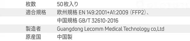Gloture、LECOMM FFP2 快適マスク製品仕様