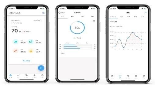 「SkinCatch」専用アプリ画面イメージ。 (左)肌の点数表示(トータルスコア)、(中央)各測定項目別スコア、(右)測定履歴