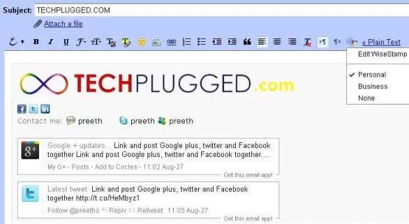 Add Google plus status updates as your Gmail signature