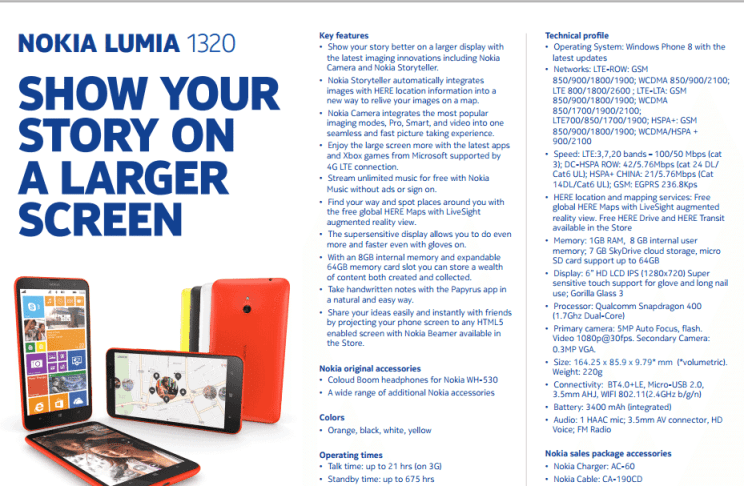 Nokia Lumia 1320 specs