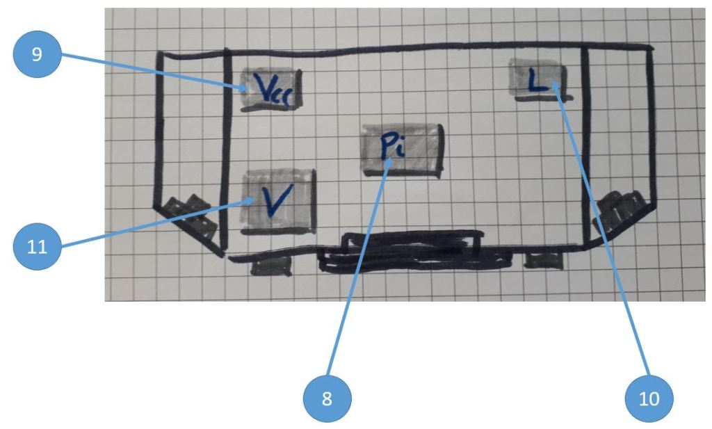 Komponenten: Draufsicht (innen) des Werkstatt Internet Radio