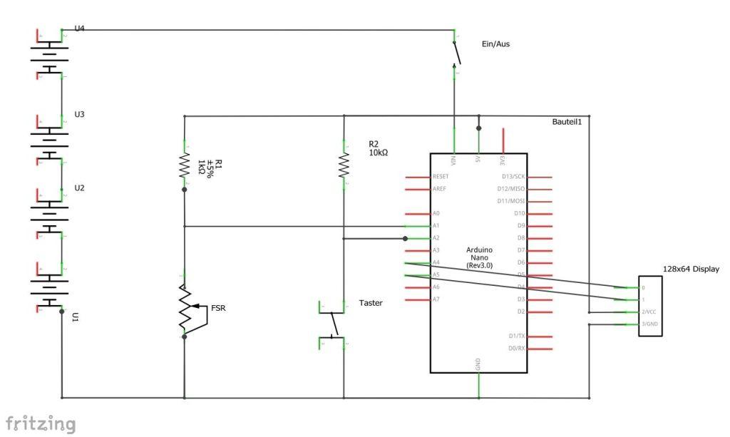 Schaltplan des Messgeräts für Bandspannung mit Arduino, FSR