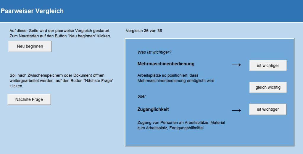 Dialog zur Steuerung des paarweisen Vergleichs im Workshop