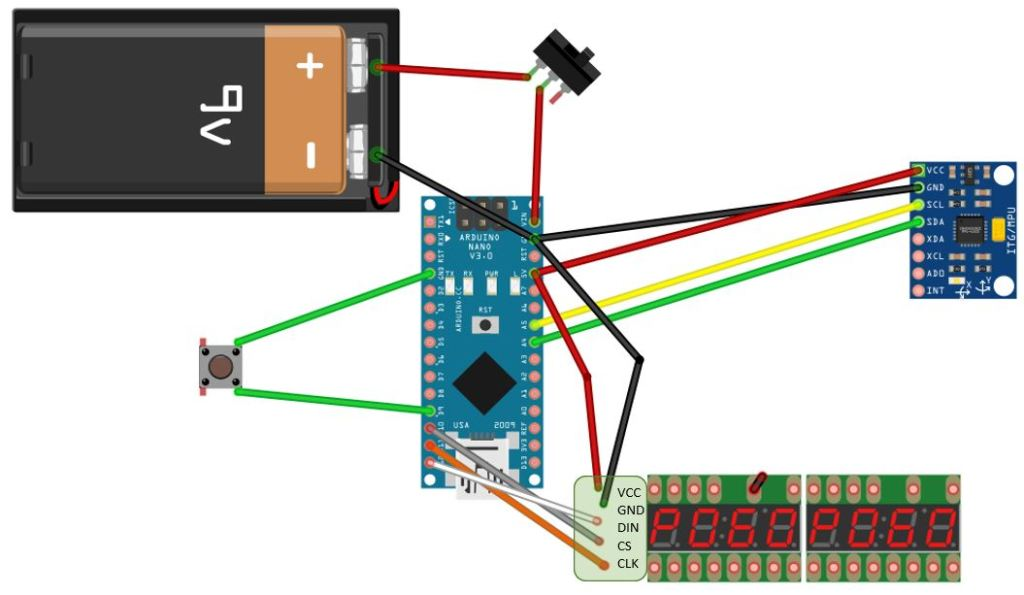 Schaltung für die Bohrtiefenanzeige mit Gyro-Sensor, Arduino und 7-Segment-Anzeige