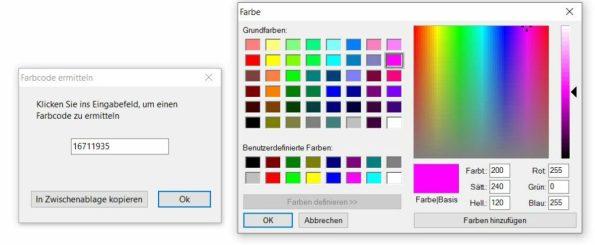 Auswahldialog zum Finden von RGB-Farbwerten