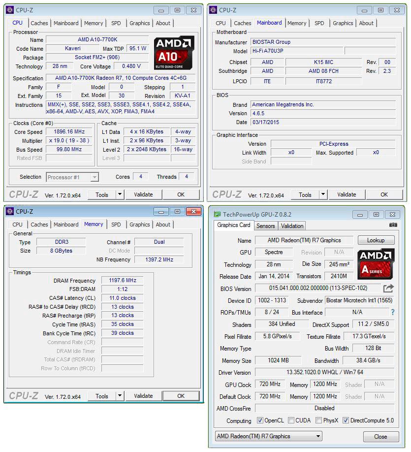 BIOSTAR A70U3P CPU-Z