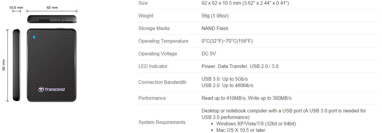 1tb Transcend Esd400 Portable Usb 30 Ssd Review Techporn
