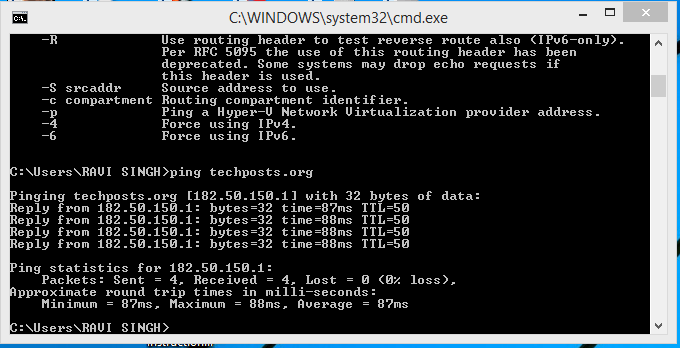 How to get ip address of a website using cmd