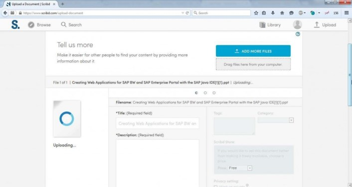 Write file info about the Document you are Uploading to Scribd