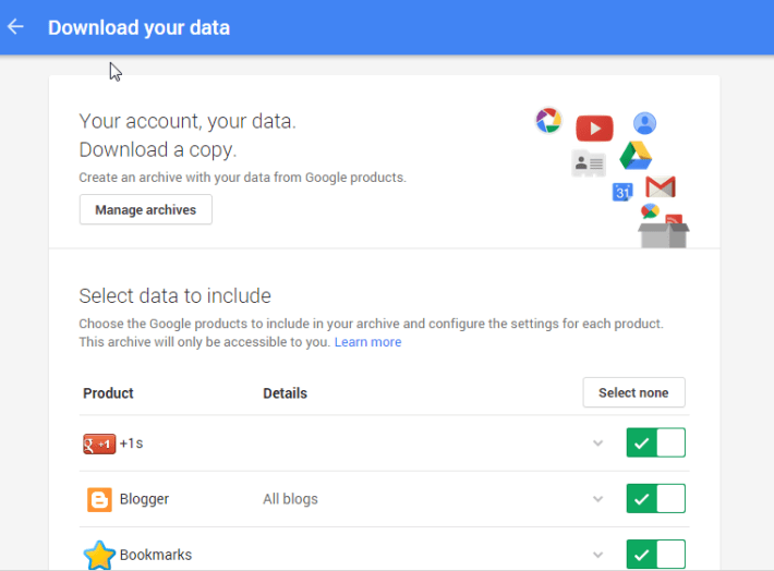 Download Google Data - Takeout -Techposts