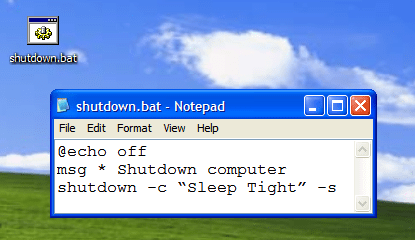 Shut Down computer forcefully using Notepad