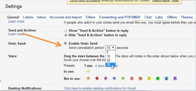 Tick Enable Undo Send in Gmail