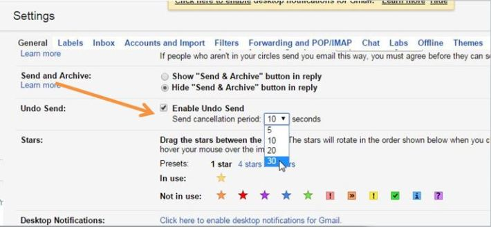 Tick Enable Undo Send in Gmail