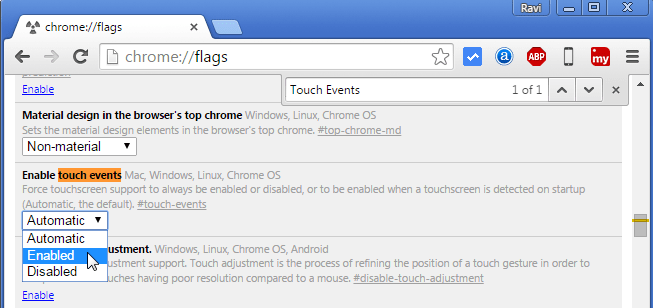 Enable Touch Events in Chrome