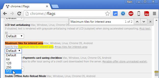 Google Chrome: Maximum tiles for interest area (Choose 512 from drop down menu)