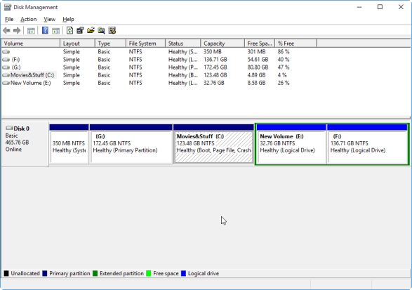 Creating Disk Partition in Windows Disk management tool