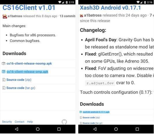 Download Two Apps on Android Device -CS16 Cleint & Xash 3D