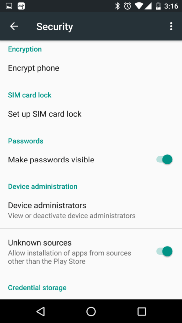 Security Settings in Android Phone