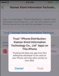 Add Trusted app under Settings and profile menu in ios devices