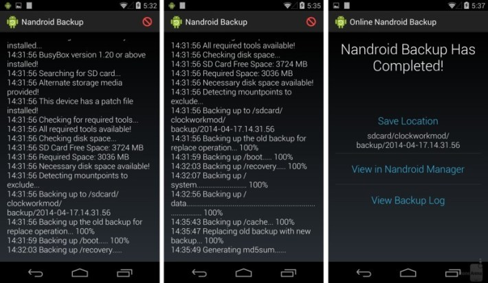 Nandroid Backup using Custom Recovery and Root Access