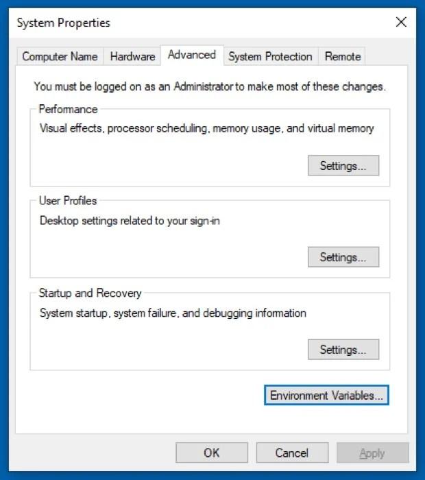 установка переменной PATH в Windows