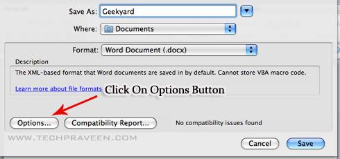 Microsoft Word doc 2011 Save As Options