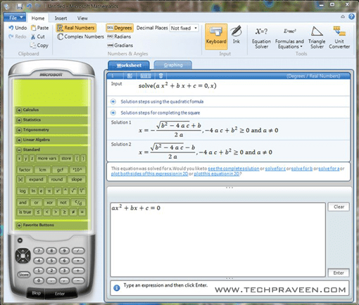 Microsoft Mathematics 4.0 for MS Office 2007 and Office 2010