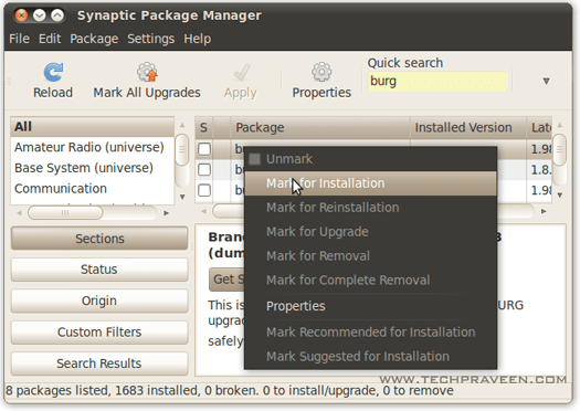 Burg Synaptic Package Manager