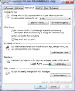 Click Signatures Option in MS Outlook