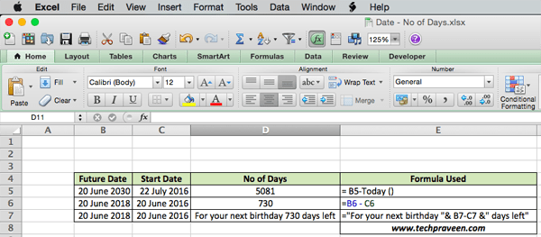 Excel Formula to calculate difference between two dates in Excel