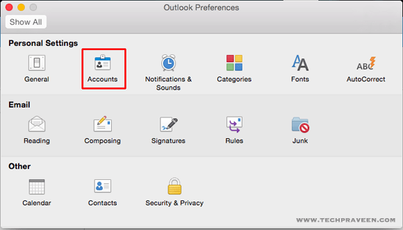 Outlook 2016 Account Preferences