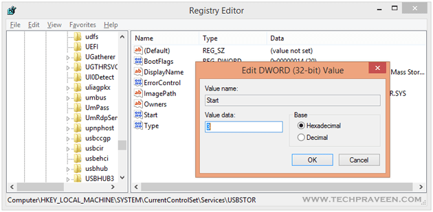Registry Editor for USB Port Disable