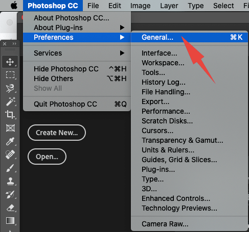 Adobe Photoshop Preferences Dialog Box