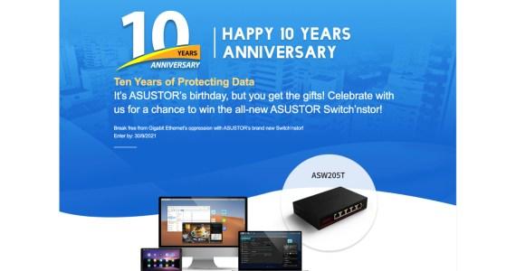 ASUSTOR Switch'nstor: brandneuer 2.5-GbE-Switch mit fünf Ports zum 10-jährigen Jubiläum – mit Gewinnspiel