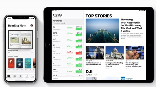 New Stocks and Apple Books application in iOS 12