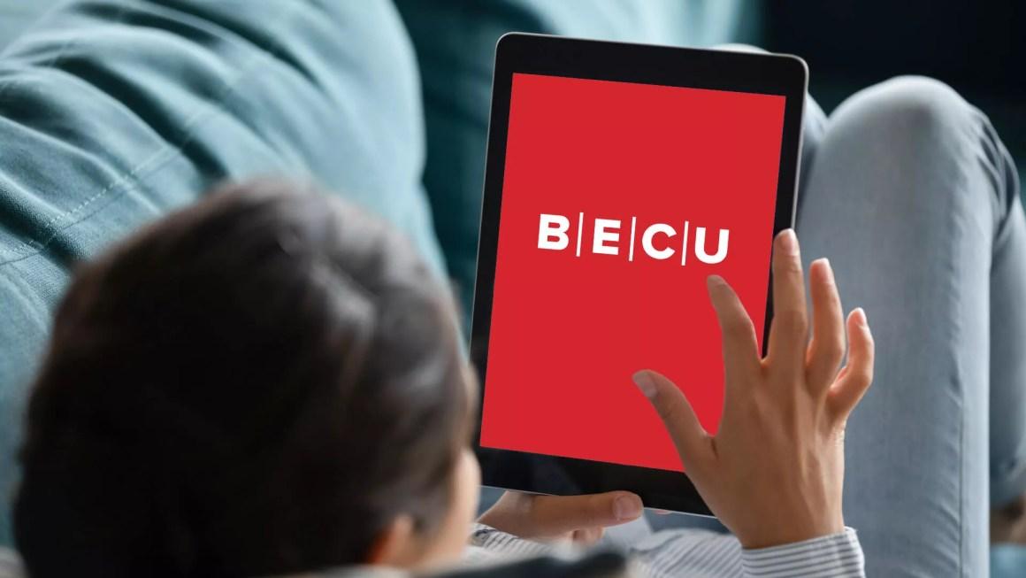 man using BECU bank mobile website