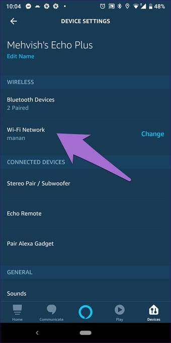 check echo device connected with wifi or not