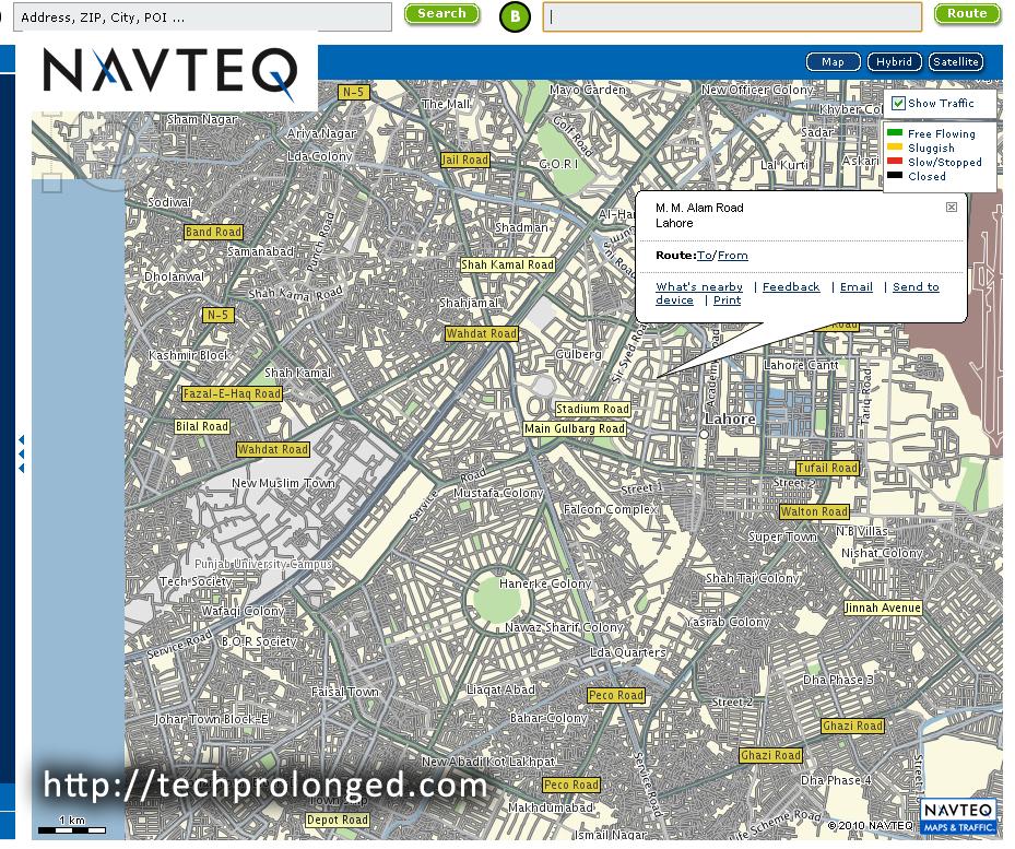 NAVTEQ showed up Pakistan Maps in Street Detail - Ovi Maps