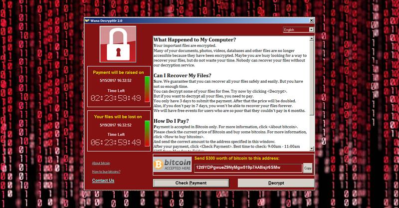 WannaCry Ransomware Popup