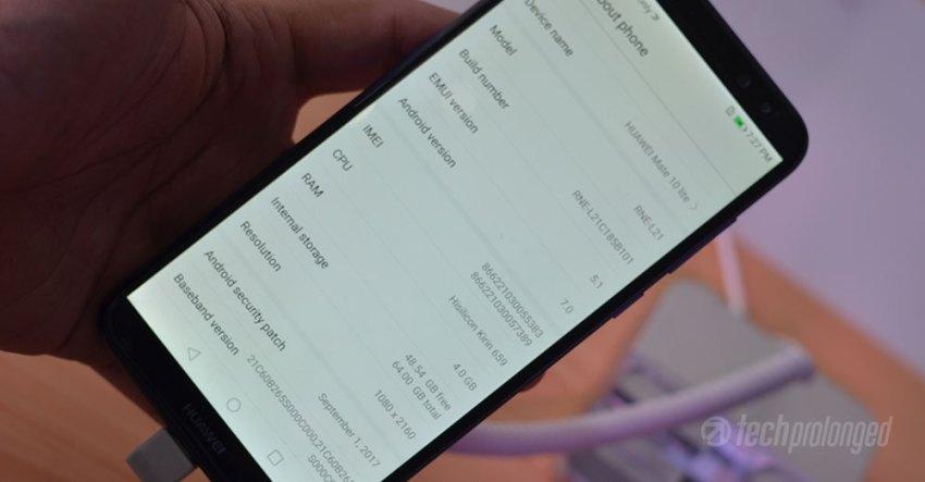 Huawei Mate 10 Lite - About Screen