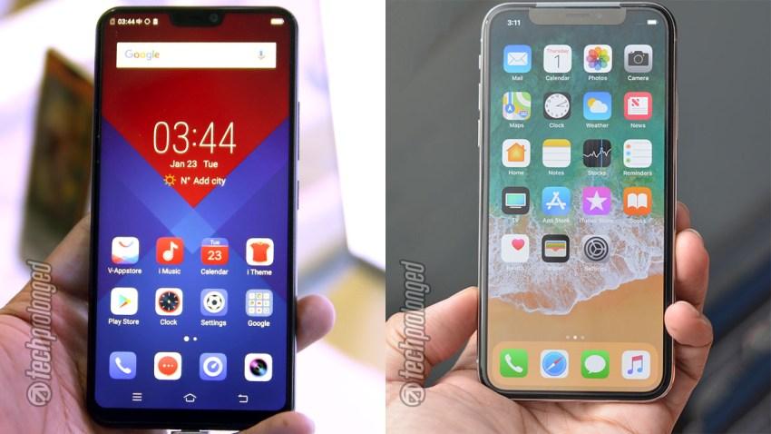 Vivo V9 vs iPhone X side by side