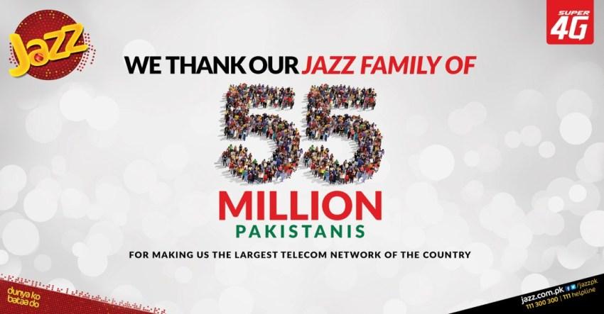 Jazz 55 Million Subscribers Pakistan