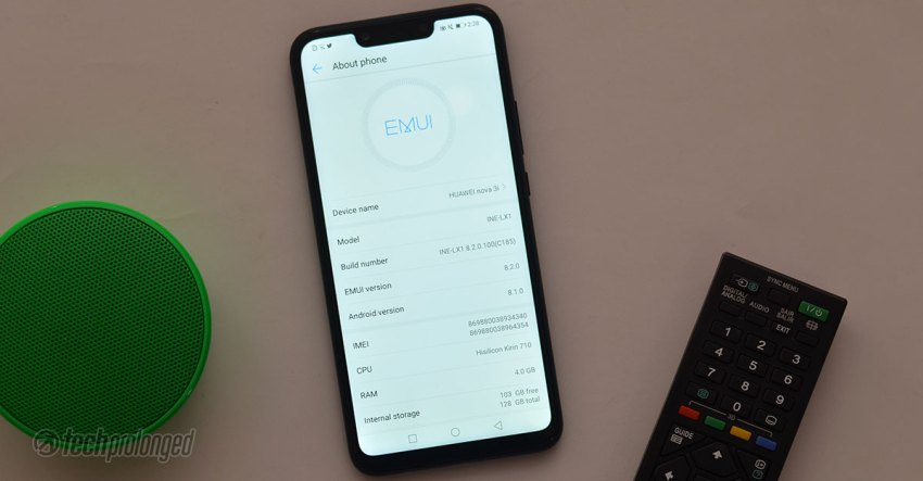 Huawei Nova 3i EMUI About Screen