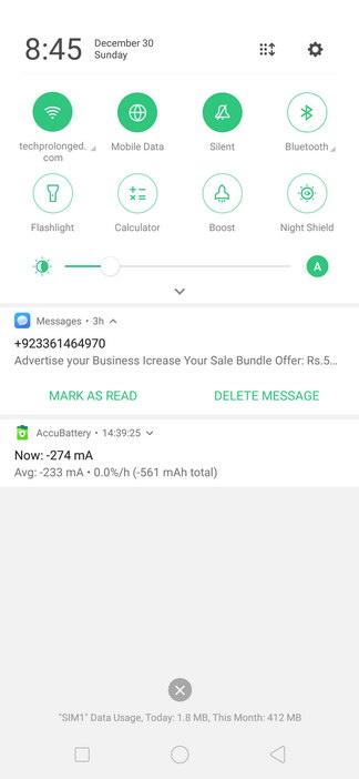 Realme 2 Pro ColorOS UI Notifications