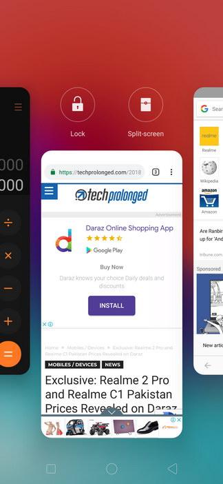 Realme 2 Pro ColorOS UI Recent Apps View