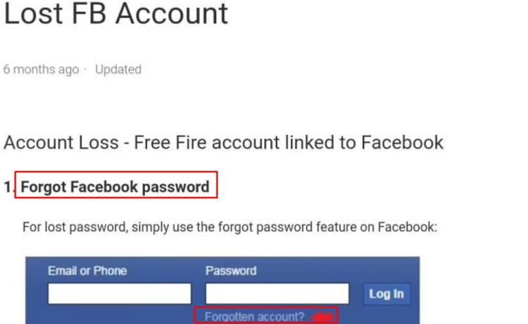 Recover Lost Free Fire FB Account