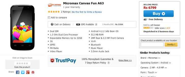 Micromax Canvas Fun A63 with Android 4.2.2 spotted online for Rs. 6,799