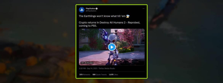 Destroy All Humans 2 - Reprobed PS5 leak tweet