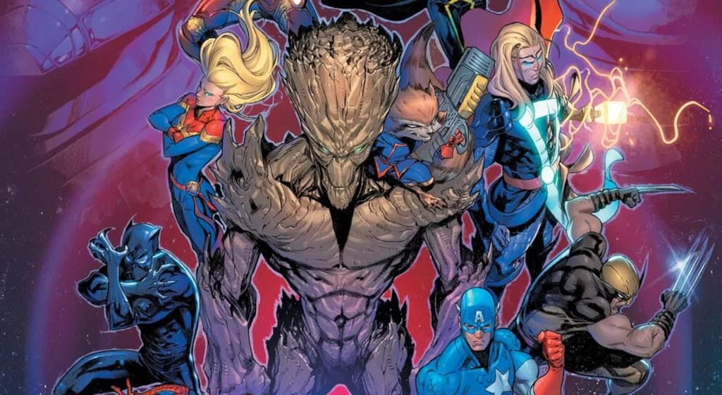 Groot, Captain Marvel, and several other Marvel heroes in the Marvel Multiverse artwork